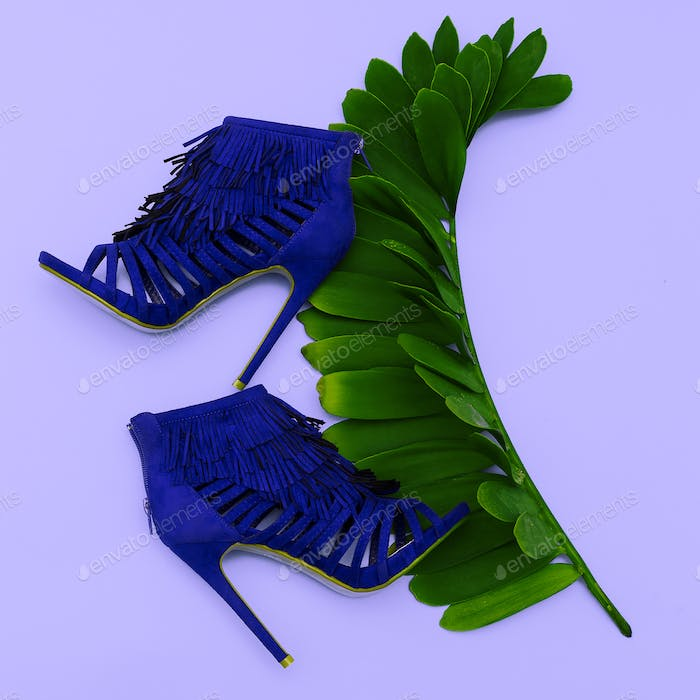 Lady's shoes high heels. Style. Fashion. Minimal design Concept