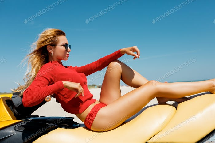 Woman on water scooter