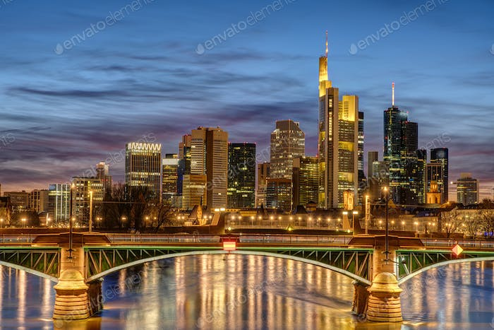 The skyscrapers of the financial district in Frankfurt