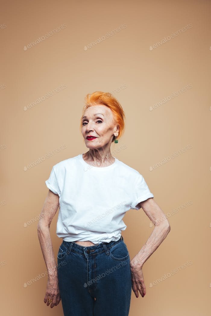 Amazing mature redhead fashion woman