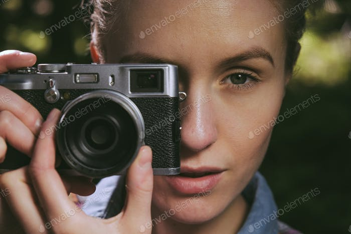 pretty girl with vintage camera