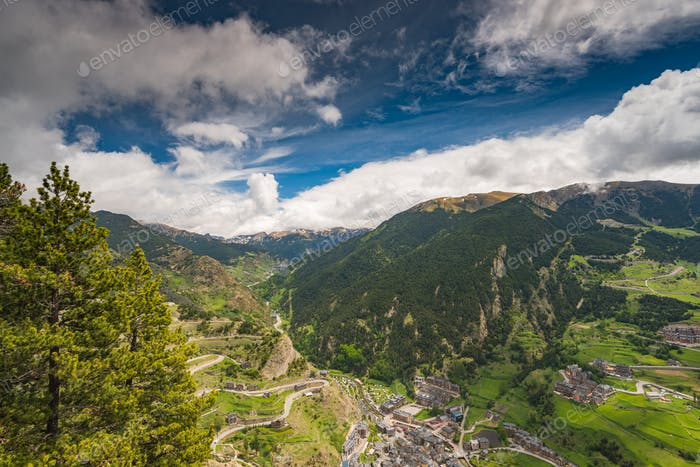 Panoramic vista over village and mountains in Andorra