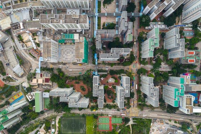 Lok Fu, Hong Kong 17 May 2019: Top view of Hong Kong city