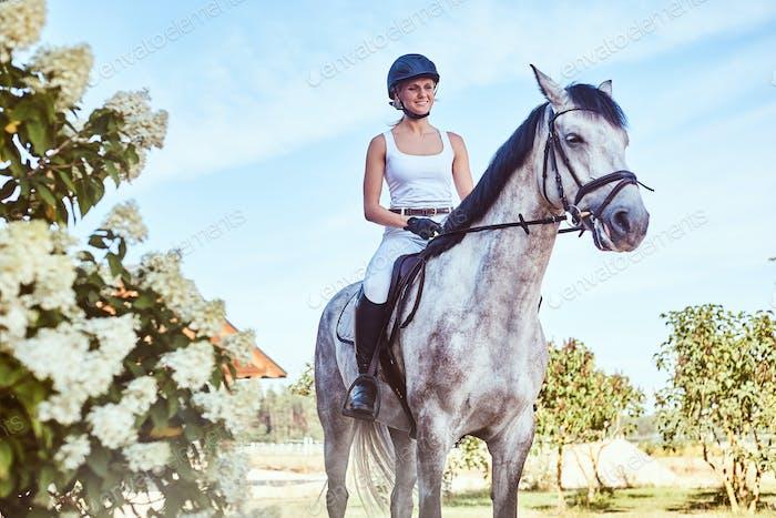 Smiling female jockey on dapple gray horse walking through the flowering garden.