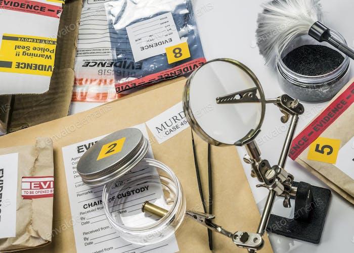 Evidence of crime scene, bullet cap in laboratory scientist