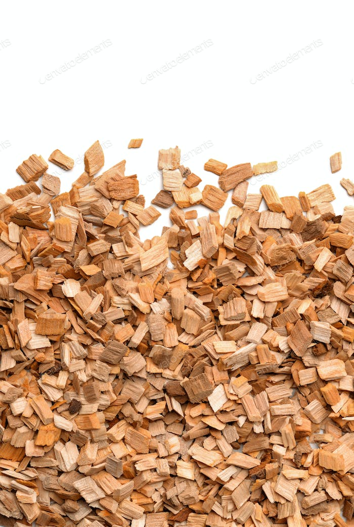 Close up of smoking woodchips