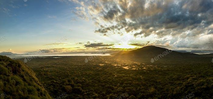 Vista panorámica de Alto ángulo del Parque Nacional Nechisar y Abaya La