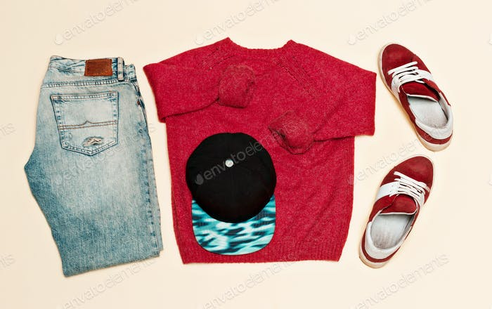 Urban clothing set. Sweater jeans shoes cap Skateboard fashion s