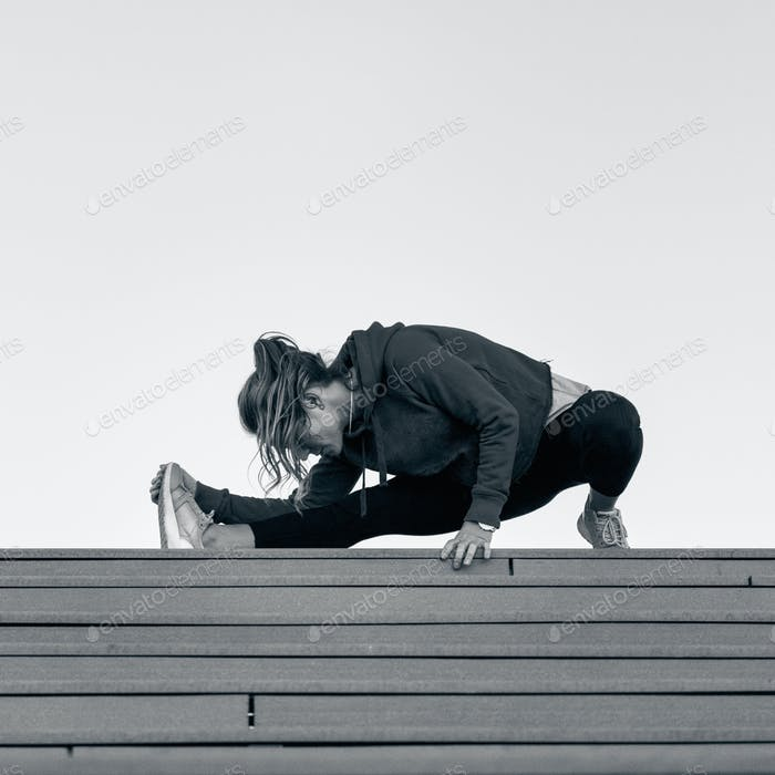 Streching on stairs