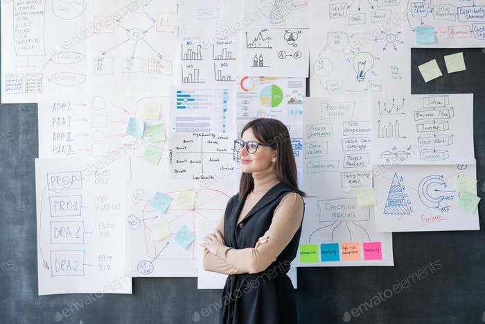 Young successful female economist with crossed arms standing by blackboard