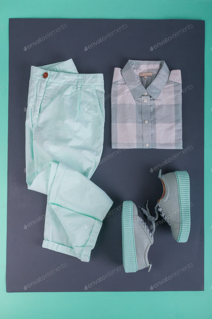 Summer or spring female mint color outfit.