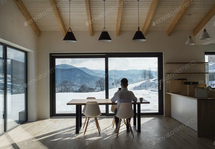 Rear view of mature man sitting at the table in new home, using tablet.