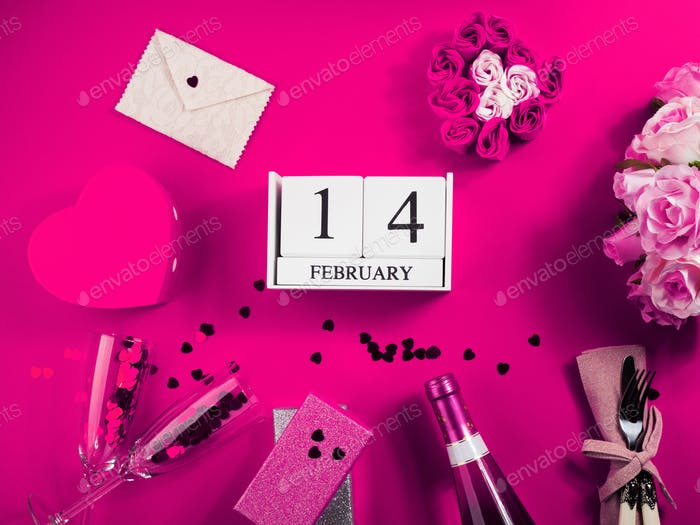 Happy Valentinstag Konzept mit Kalender
