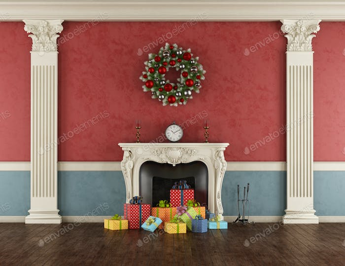 Christmas present in a classic fireplace
