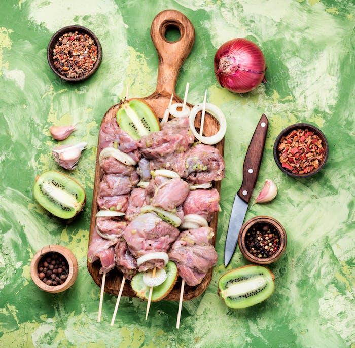 Skewers of shish kebab