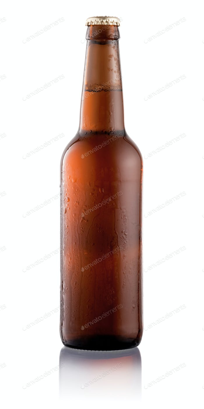 Beer bottle with condensation water drops isolated on white back