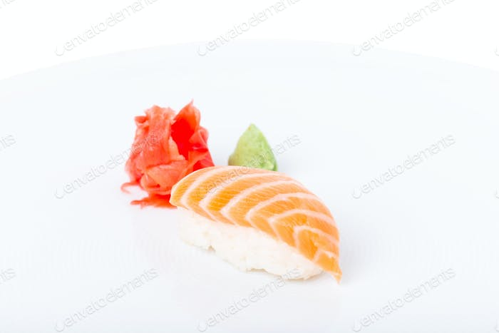 Traditional salmon nigiri sushi.