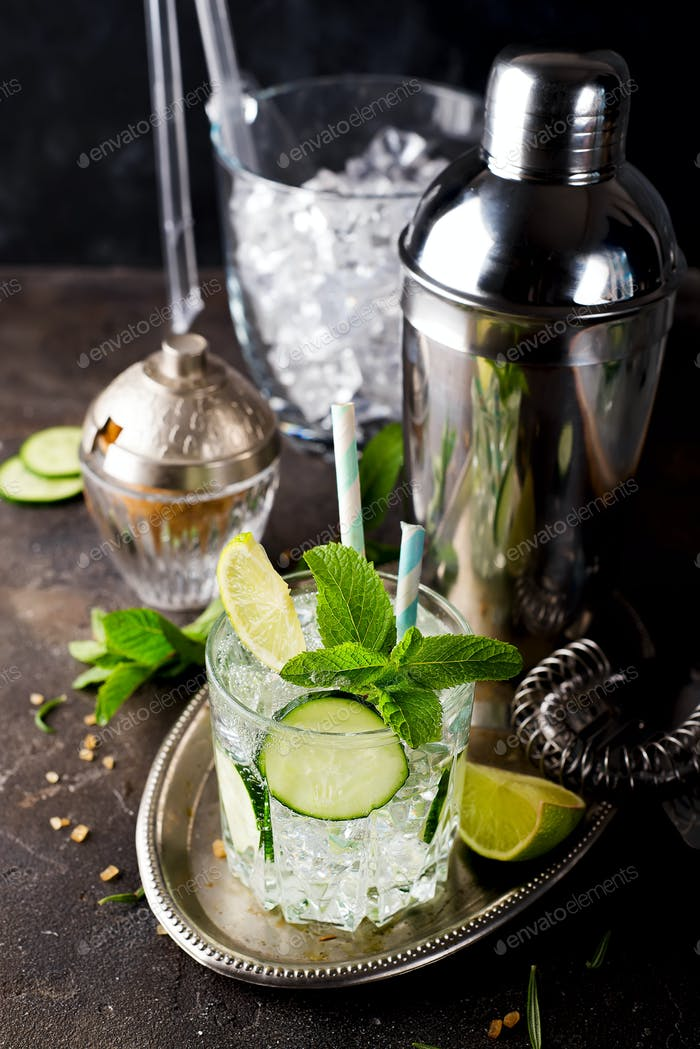 Glass of gin tonic cocktail decorated with cucumber