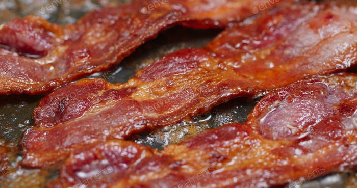 Cook with bacon on fry pan