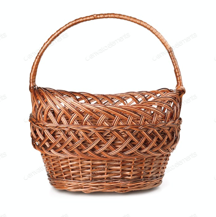 Front view of empty wicker basket
