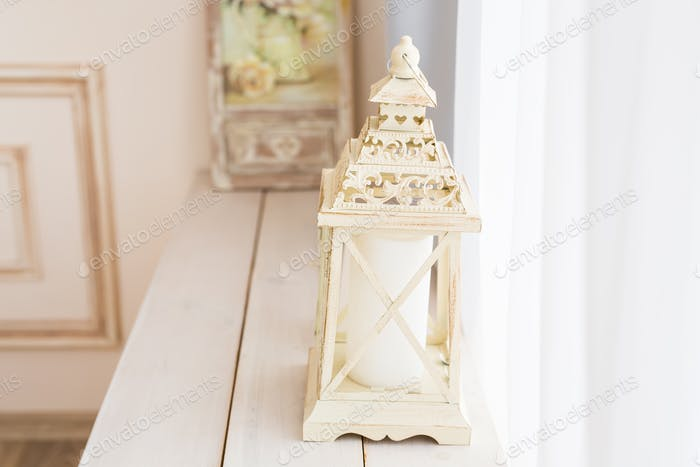 Large vintage white street lamp. Festive Christmas winter decoration.