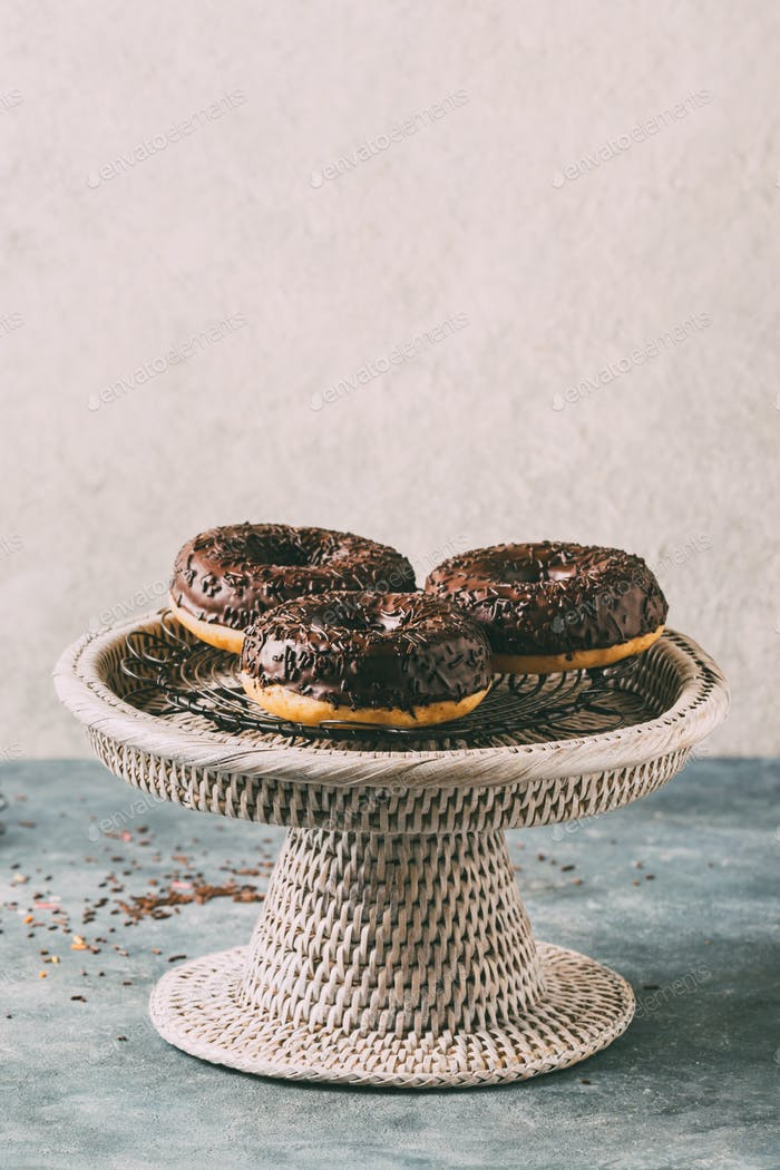 Fresh made Donuts with chocolate glaze