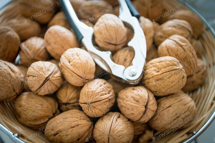 Background of fresh walnuts.  Natural walnut background