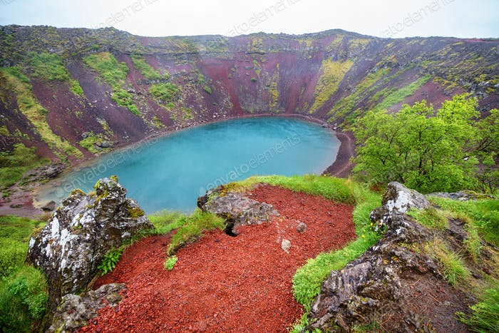 Volcano crater with a lake inside, Iceland landscape.
