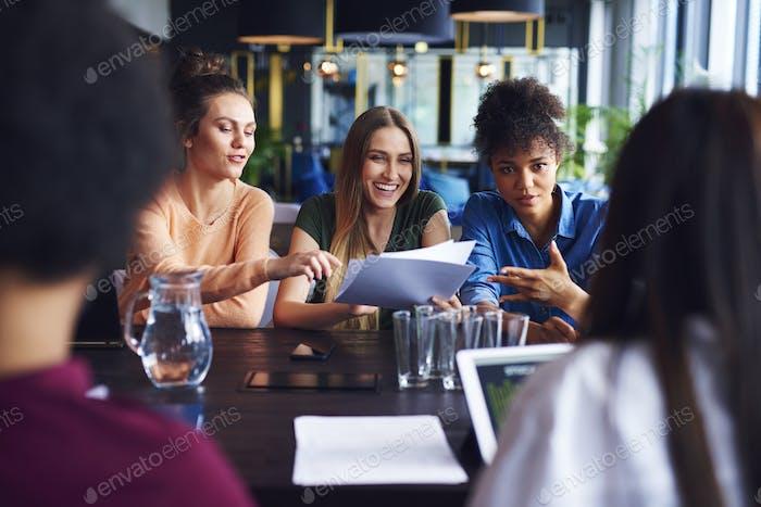 Businesswomen having conference in office