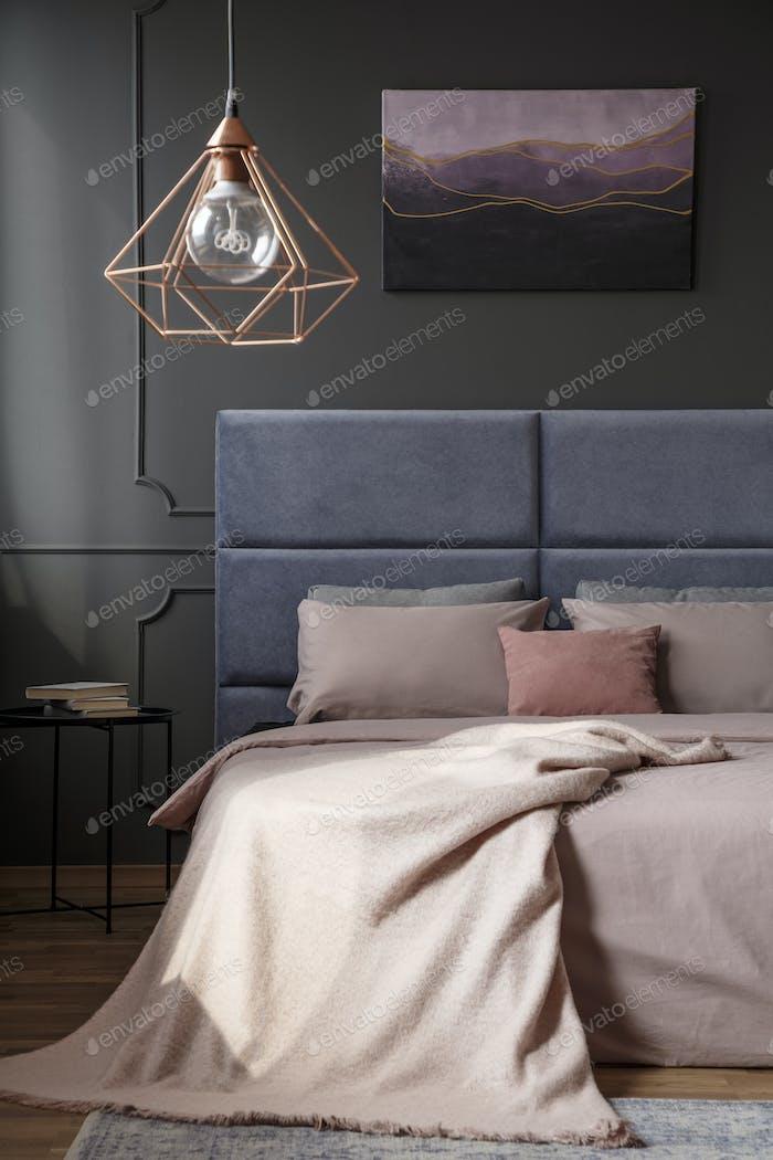 Gold elegant bedroom interior