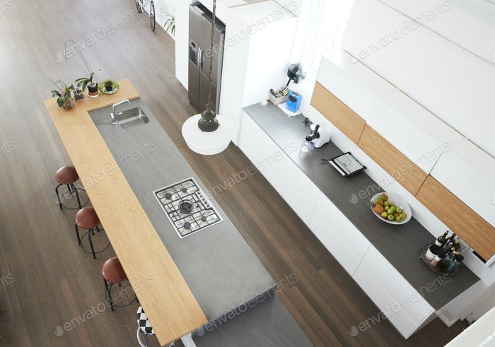 Overhead View Of Modern Kitchen With Island