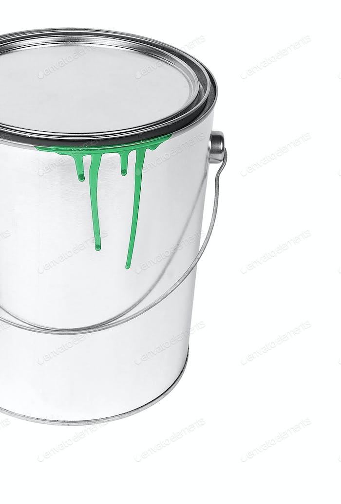 open, painted bucket