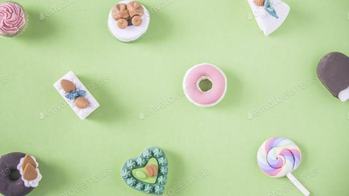 Sweets in a colorful pattern