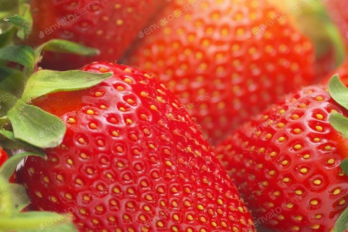 Macro of strawberry.