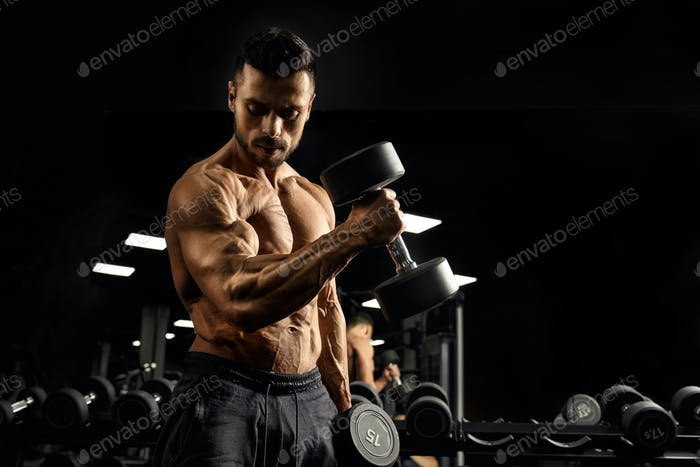 Muscular bodybuilder training biceps with dumbbell