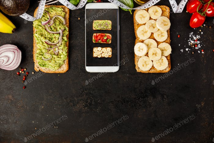 Healthy sandwicheson dark background