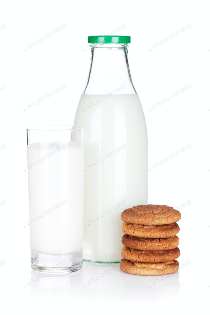 Glass, bottle of milk and cookies