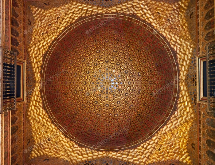 Golden Dome architecture Ambassador room, Real Alcazar, Seville, Andalusia, Spain.