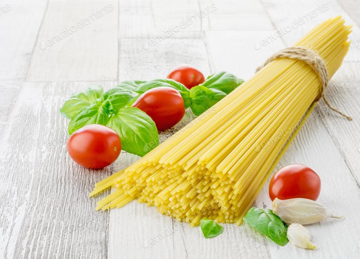 Italian spaghetti pasta and fresh ingredients