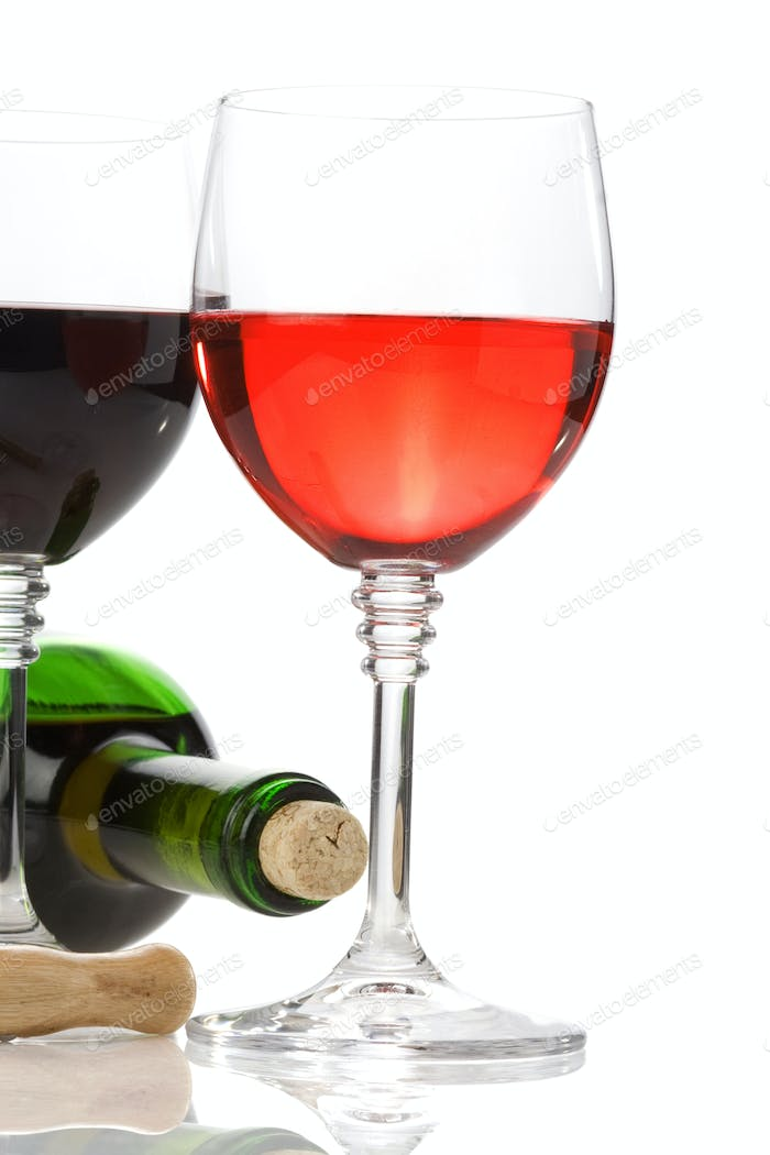 wine in glasses and bottle isolated on white  on white