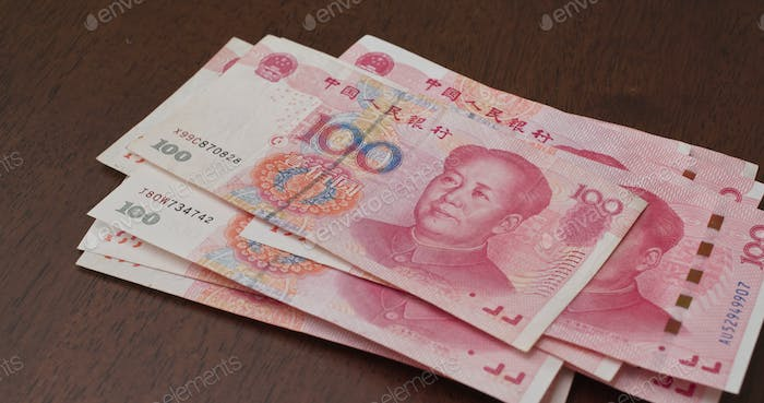 Counting on Chinese RMB banknote