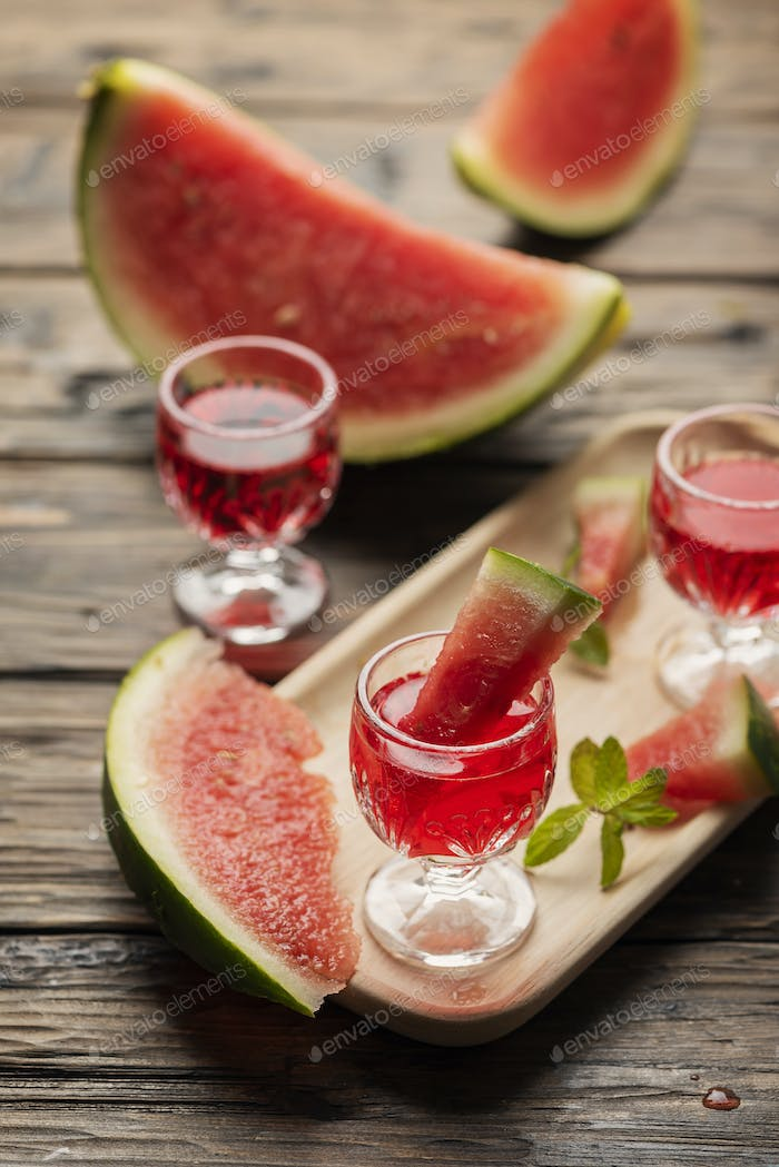 Sweet alcohol liquor with watermelon