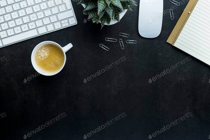 Flat lay top view office desk and coffee