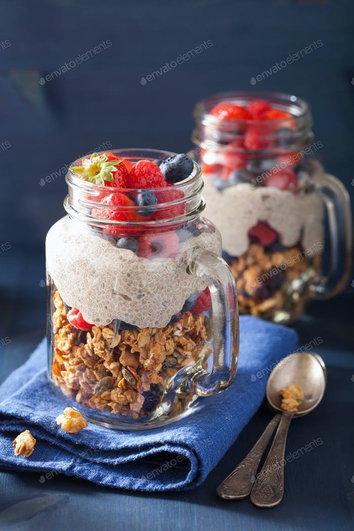 homemade granola and chia seed pudding with berry healthy breakf
