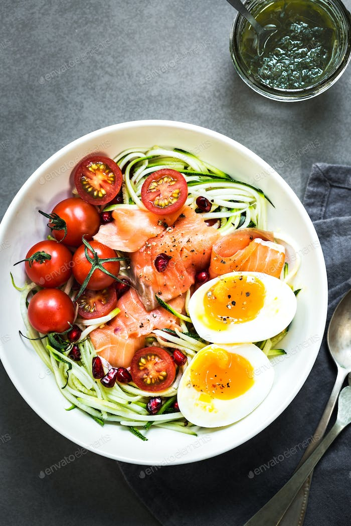 Zucchini zoodle with Smoked Salmon and Boiled Egg salad