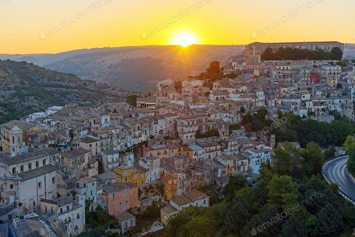 Sunrise in Ragusa Ibla in Sicily