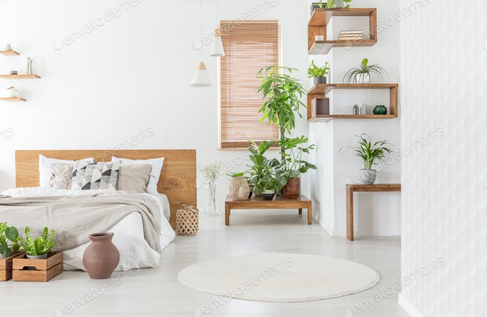 Real photo of a cozy bedroom interior with plants, double bed, r
