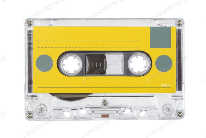 Audio tape compact cassette isolated