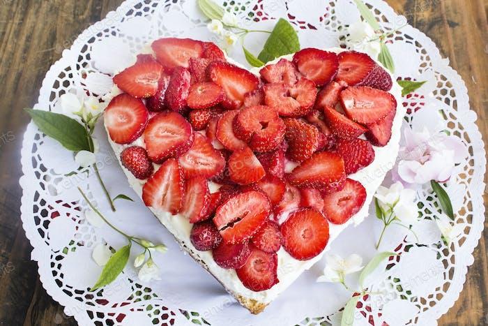 Heart Cheesecake with Strawberries