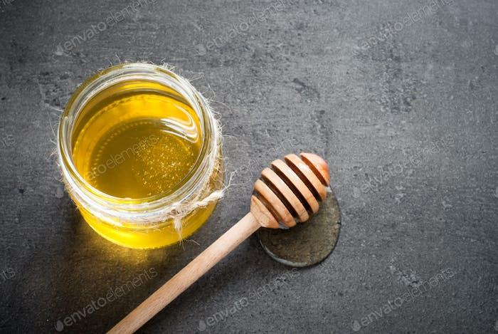 Honey in a glass jar